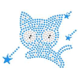 Nailhead Magic Cat Iron on Motif