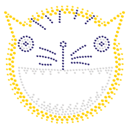 Rhinestone Funny Kitty Face Iron ons