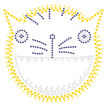 Rhinestone Funny Kitty Face Iron ons