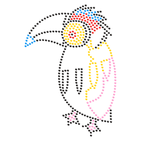Numb Hornbill Iron on Rhinestone Transfer