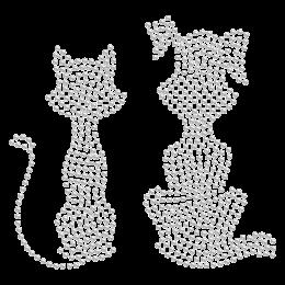 Hotfix Crystal Dog&Cat Friendship Rhinestone Motif