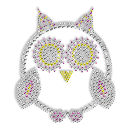 Rhinestone Owl Bling Hotfix Motif Design for Clothes