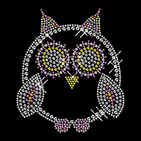 Rhinestone Owl Bling Hotfix Motif Design for Clothes