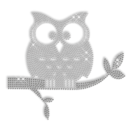 Strass Lonely Owl Crystal Iron ons Transfer