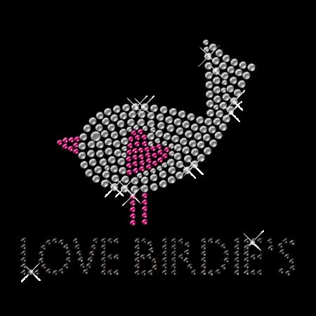 Love Bird Rhinestone Iron on Small Motif