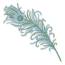 Rhinestud Green Feather Iron on Transfer Motif for Clothes