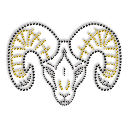 Rhinestone and Rhinestud Ox Head Iron on Transfer Motif for Clothes