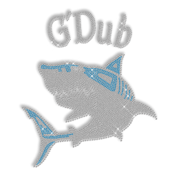 Crystal and Blue Rhinestone Shark Iron on Transfer Pattern for Clothes