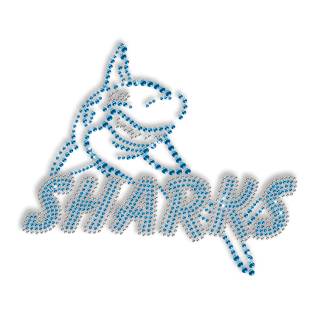 Blue Rhinestone Shark Iron on Transfer Pattern for Clothes