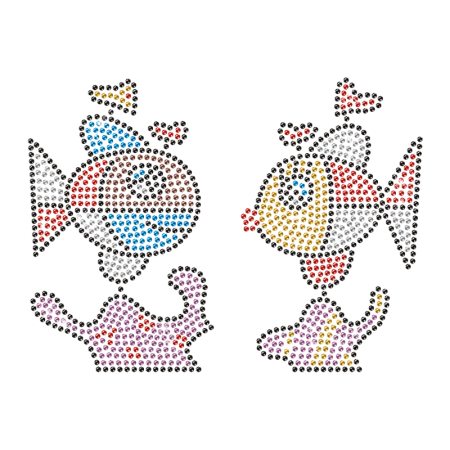 Sparkling Rhinestone Double Fish Iron on Transfer Pattern for Clothes