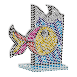 Lovely Rhinestone Little Fish Iron on Transfer Pattern for Clothes