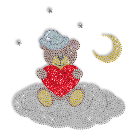 Shining Rhinestone Bear with Heart Iron on Transfer Motif for Clothes