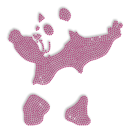 Classy Pink Panda Iron on Rhinestud Transfer
