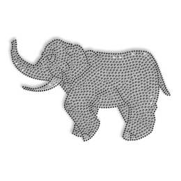 Shining Rhinestone Walking Elephant Iron on Transfer Motif for Clothes