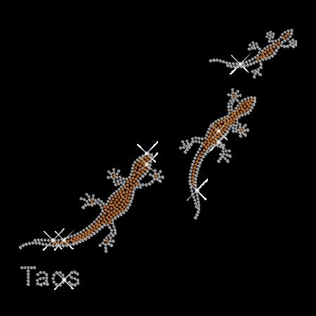 Orange Rhinestud Triple Lizard Iron on Transfer Motif for Clothes