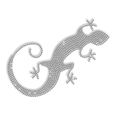 Single Rhinestone Crystal Lizard Iron on Transfer Motif for Clothes