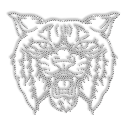 Shinning Rhinestone Wildcat Head Iron on Transfer Pattern for Clothes