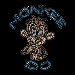 Shinning Rhinestone Smart Monkey Iron on Transfer Design for Shirts