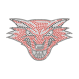 Shinning Rhinestone Red Wolf Iron on Transfer Design for Shirts