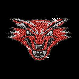 Shinning Rhinestone Red Wolf Iron on Transfer Design for Shirts