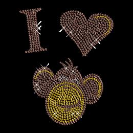 Shinning Rhinestone I Love Monkey Iron on Transfer Design for Shirts