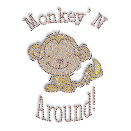 Shinning Rhinestone Monkey with Banana Iron on Transfer Design for Shirts