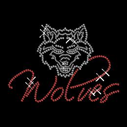 Shinning Rhinestone Wolf Head Iron on Transfer Motif for Shirts