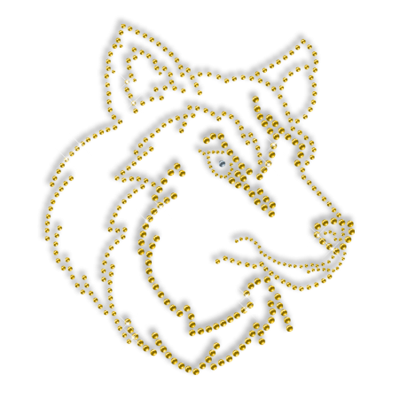 Sparkling Rhinestone Yellow Wolf Iron on Transfer Design for Shirts