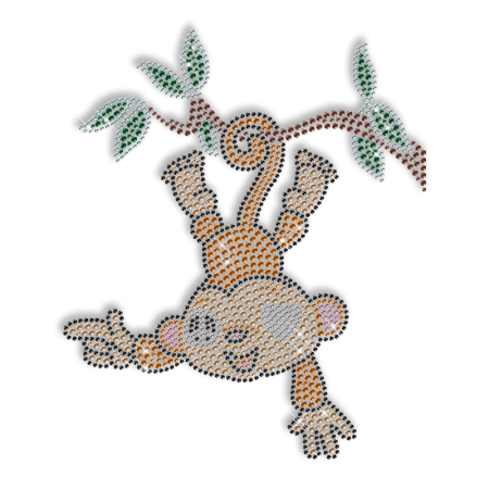 Shinning Rhinestud Naughty Monkey Iron on Transfer Design for Shirts