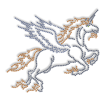 Sparkling Rhinestone Flying Horse Iron on Transfer Design for Clothes