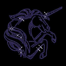 Sparkling Rhinestone Jumping Unicorn Iron on Transfer Design for Clothes