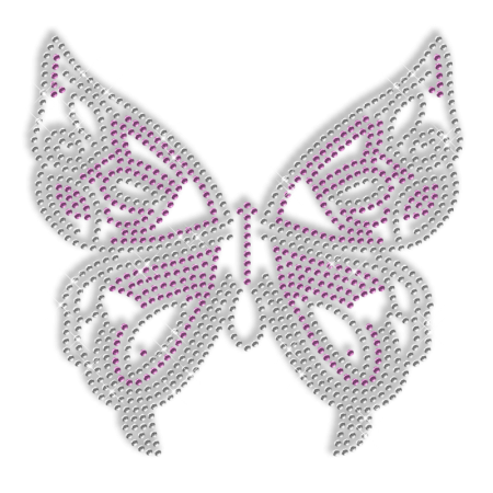 Shinning Rhinestone Crystal and Purple Butterfly Transfer Iron on Design for Clothes