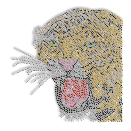 Shinning Rhinestone Leopard Transfer Iron on Design for Clothes
