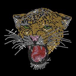 Shinning Rhinestone Roaring Leopard Transfer Iron on Design for Clothes