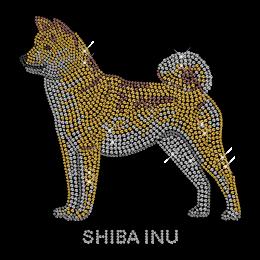 Sparkling Rhinestone Shibainu Transfer Iron on Motif for Shirt