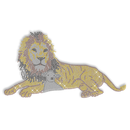 Shining Rhinestone Gold Lion Iron on Transfer Motif for Shirts