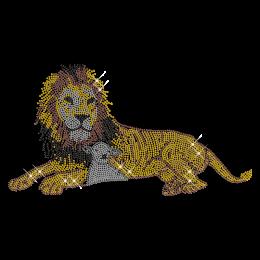 Shining Rhinestone Gold Lion Iron on Transfer Motif for Shirts