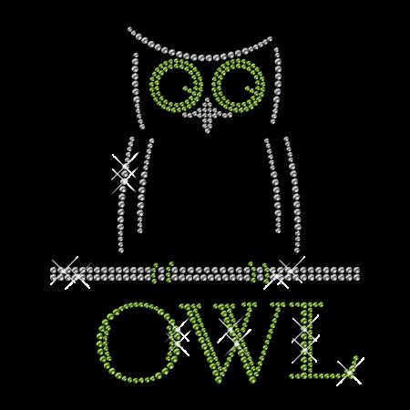 Simple Owl Image Rhinestone Iron on Bling Design