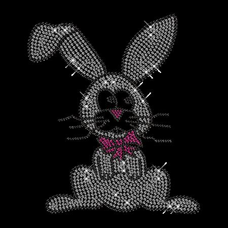 Shining Rhinestone Sitting Bunny Iron on Transfer Motif for Shirts