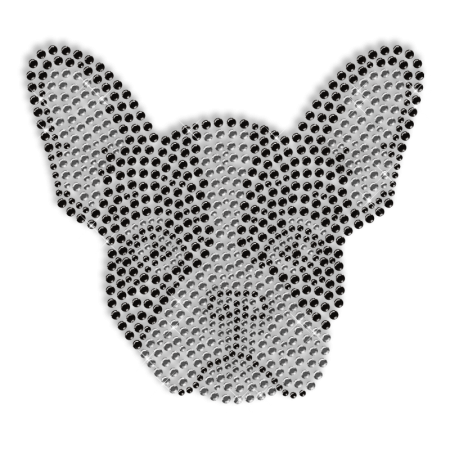 Sparkling Rhinestone Dog Head Iron on Transfer Design for Shirts