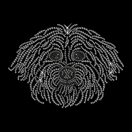 Shining Rhinestone Crystal Dog Head Iron on Transfer Motif for Clothes