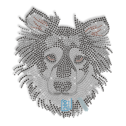 Shining Rhinestone Black Dog Head Iron on Transfer Motif for Shirts