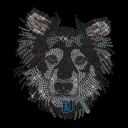 Shining Rhinestone Black Dog Head Iron on Transfer Motif for Shirts