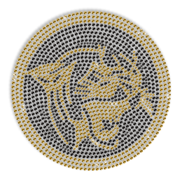 Gold Rhinestone Tiger Iron on Transfer Motif for Shirts