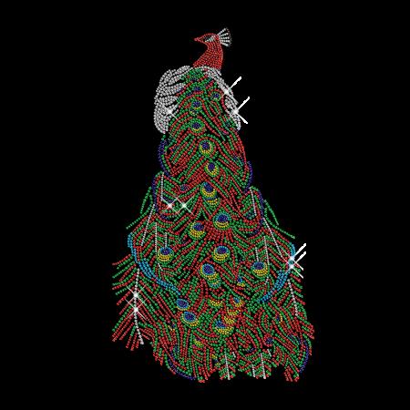 Giant Peacock Rhinestone Transfer Iron on Design
