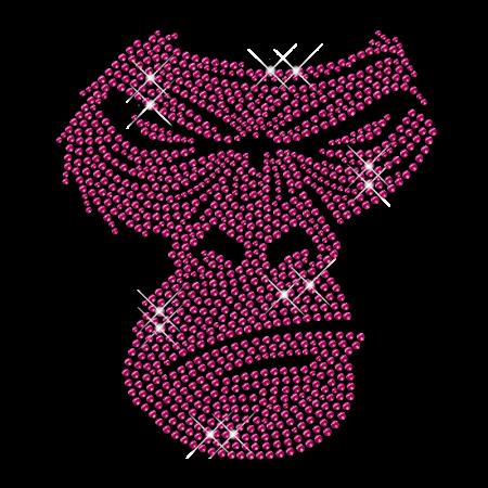 Pink Monkey Cool Iron on Crystal Motif