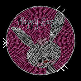 Happy Easter Bunny Pattern Rhinestud Hotfix Design
