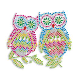 Rhinestone Owl Couple Hotfix Motif Design