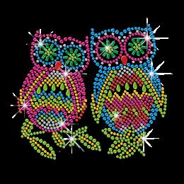 Rhinestone Owl Couple Hotfix Motif Design