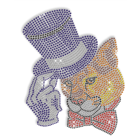 Hotfix Rhinestone Mr. Leopard Transfer Design